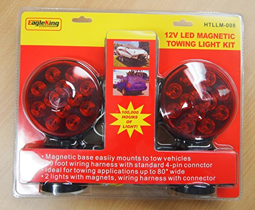12V LED Magnetic Towing Trailer Light Kit 24 LEDs Multi-Function DOT