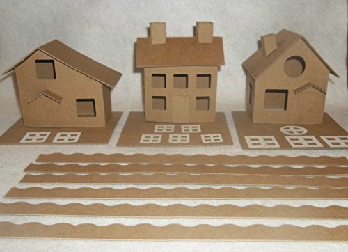 Putz Style Cardboard Houses-Cottage/Colonial/Slanted Roof with Flicker Light Hole (Houses Glitter)