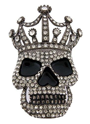 Skull Belt Buckle Skeleton Crown Rhinestone Gun Metal ()