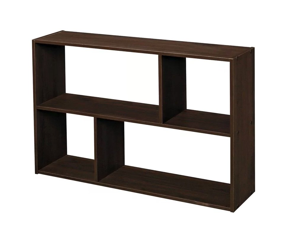 J&M Wall Mounted 4-Shelf Storage Organizer Espresso Wood Display Unit For Storing Books And Displaying Items