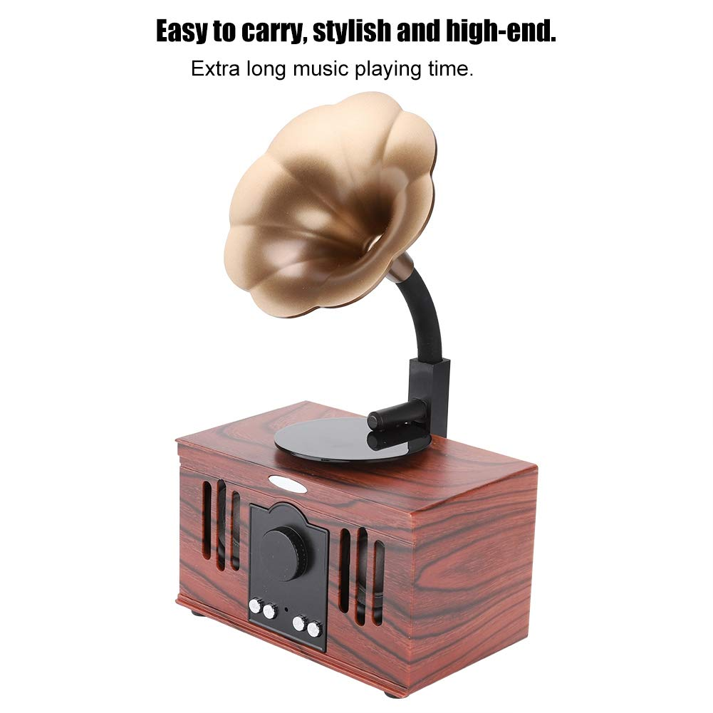 Reproducci/ón de m/úsica Tonysa Altavoz inal/ámbrico Retro USB port/átil Bluetooth Altavoz bajo est/éreo USB Forma de gram/ófono para Viajar Ejercicio matutino Baile
