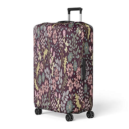 (Pinbeam Luggage Cover Folk Pattern in Small Wild Flowers Liberty Millefleurs Travel Suitcase Cover Protector Baggage Case Fits 22-24 inches)