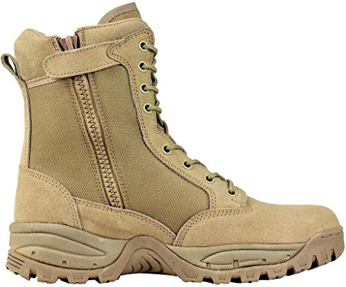 (Maelstrom Men's TAC FORCE 8 Inch Military Tactical Duty Work Boot with Zipper, Tan, 9.5 M US)