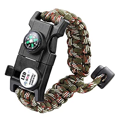 Anoak 20 in 1 Paracord Bracelet Outdoors Emergency Survival Bracelet, Wilderness Survival-tool For Camping from Anoak