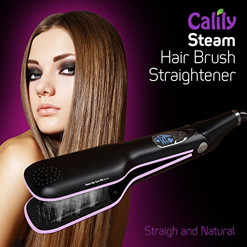 Calily Heated Hair Brush Straightener with Hair Steaming – Amazing and Innovative Hair Straightener / Achieve the Perfect Hairstyle in Minutes