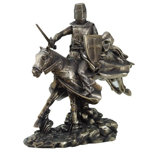 (9956 Crusader Knight Riding A Horse With Sword Statue Figurine, 9