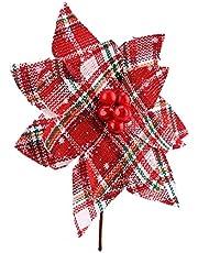 XHONG 6 stks Kerst Zwart Wit Buffalo Plaid en jute Poinsettia met Rode Bessen Picks Kerstboom Ornamenten voor Rustieke Kerstboom Kransen Slingers Winter Bruiloft Vakantie Decoratie
