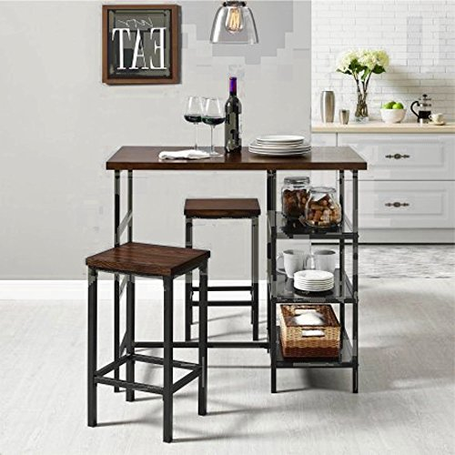 Pub Style Table Set of Three Dining Living Room Kitchen Rectangular Metal Wood Furniture Set & E book By Easy2Find by STS SUPPLIES LTD
