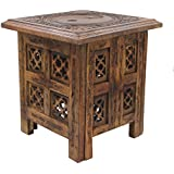 DharmaObjects Solid Mango Wood Hand Carved Prayer Puja Shrine Altar Meditation Table (Yin Yang)
