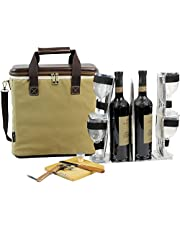 3 Bottle Heavy Duty Wine Cooler Bag, Insulated Wine Carrier for Travel, EVA Molded Champagne Carrying Tote, Wine & Cheese Set with 4 Glasses, Wine Opener & Stopper, Bamboo Cheese Board Knife