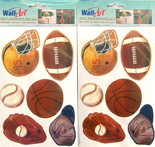 Clings Window Baseball (Old School Sports Wall Art Self-Adhesive Decals - 12 pieces)