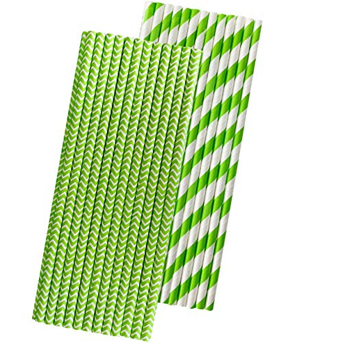 Lime Green Paper Straws - Stripe and Chevron - 7.75 Inches - 50 Pack - Outside the Box Papers Brand (Lime Green Paper Straws)