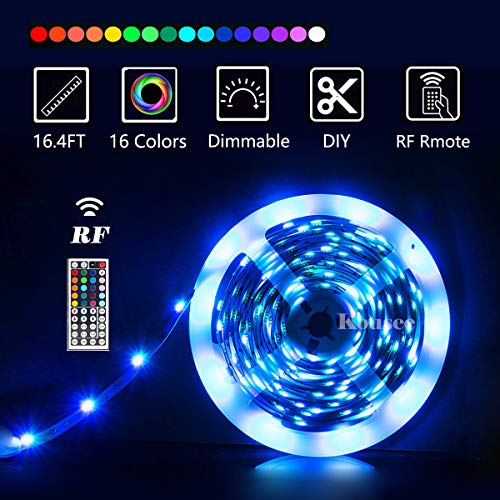 Kousee LED Strip Lights with Remote 5M 16.4 Ft 5050 RGB Flexible Color Changing Full Kit with RF Mini Controller, 12V 2A Power Supply for Home & Kitchen and Indoor Decoration