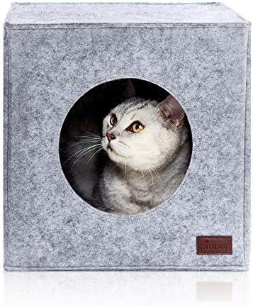 PiuPet® Cama de Gato Incl. cojín, Casa de Gato Adecuada para IKEA® Kallax & Expedit | Cueva Comoda en Gris, óptica de Fieltro, Diseño Elegante y Moderno: Amazon.es: Productos para mascotas