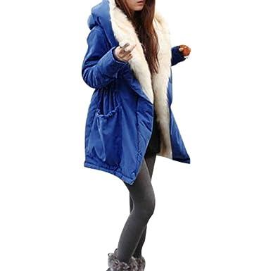 Abrigos de Mujer Invierno,Chaqueta de Mujer Invierno Casual Más Gruesa Vellocino de Piel Sintética Abrigo Chaqueta Parka Encapuchado Outwear Venmo