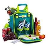 APOLLO WALKER Picnic Basket Bag Set, 2 Person Insulated Tote with Cooler Compartment Includes Tableware for Picnic,Travelling,BBQ(Green)