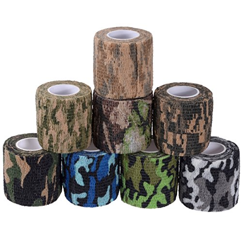Camouflage Tape Cling, Camouflage Tape Camo Adhesive Tape Camo Form Camouflage Gun Gear Self Cling Stretch Wrap Sport Camo Tapes 8 (Camo Rifle)