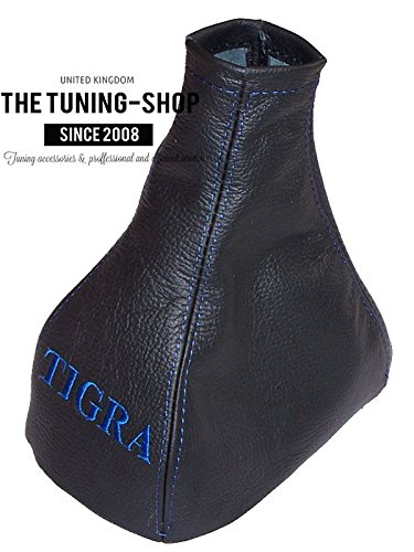 Gear Stick Gaiter Leather TIGRA Blue Embroidery