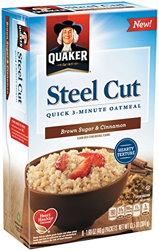 Quaker Steel Cut Quick 3-minute Oatmeal, Brown Sugar and Cinnamon, 13.5 Ounce (6 Pack)