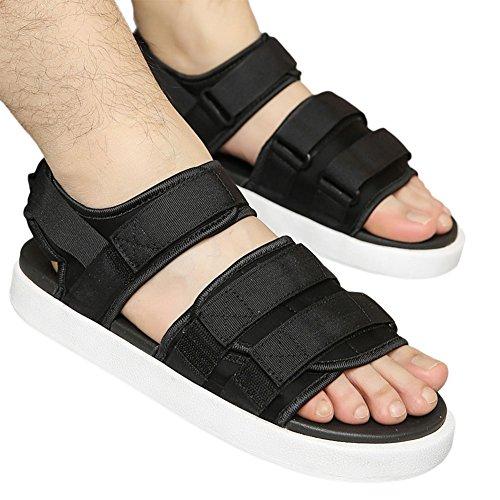 Zhuhaixmy Unisex Strap Einstellbar Sandalen Freizeit Draussen Anti-Rutsch Schuhe Weich Hausschuhe Schwarz w/Weiß