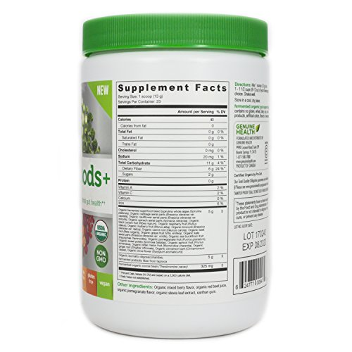 Review Genuine Health Fermented Organic Gut Superfoods+ (Summer Berry Pomegranate)