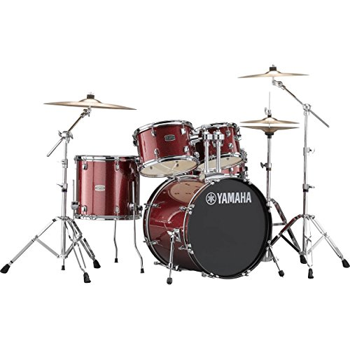 Yamaha Rydeen Acoustic Drum Set Drum Kit Set (5-piece shell pack) with Single Braced Drums Hardware Set (5 Piece) Acoustic Drum Package in Burgundy Glitter