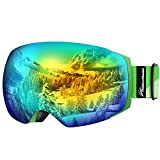 OutdoorMaster Ski Goggles PRO - Frameless, Interchangeable Lens 100% UV400 Protection Snow Goggles for Men & Women (Green Frame VLT 13% Grey Lens with Full REVO Orange and Free Protective Case)
