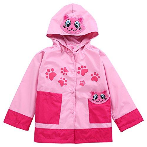 (LZH Baby Girls Boys Waterproof Raincoat Windbreaker Hooded Bomber Jacket (100(for Age 2-3Y), Pink))