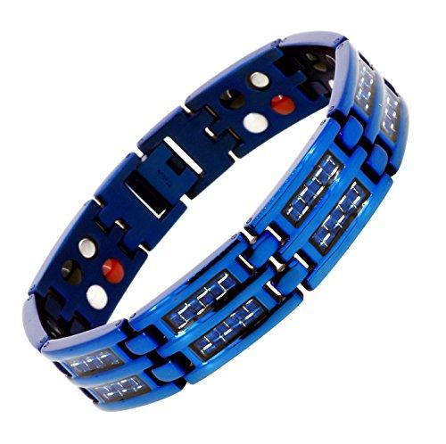 Mens Carbon Fiber Wood Inlay Electric Blue Link Chain Magnetic Titanium Bracelet (Double - Fiber Carbon Wood