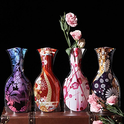 Abcsea Plastic Foldable Flower Vase, 6 PCS Mix Styles Folding Vase, Colors Home Decoration Plastic Folding Flower Vase (Random Styles)