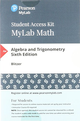 MyLab Math with Pearson eText -- Standalone Access Card -- for Algebra and Trigonometry (6th Edition)