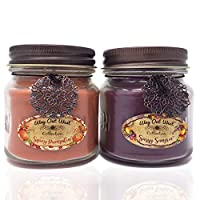 Way Out West Spicy Pumpkin & Sangria Jar Candle Gift Pack Set 2 Jar Candles- Fragrant, Long Lasting Soy Wax Blend Scented Candles - Delightful Cranberry Orange & Best Pumpkin Like Grandma's Kitchen!