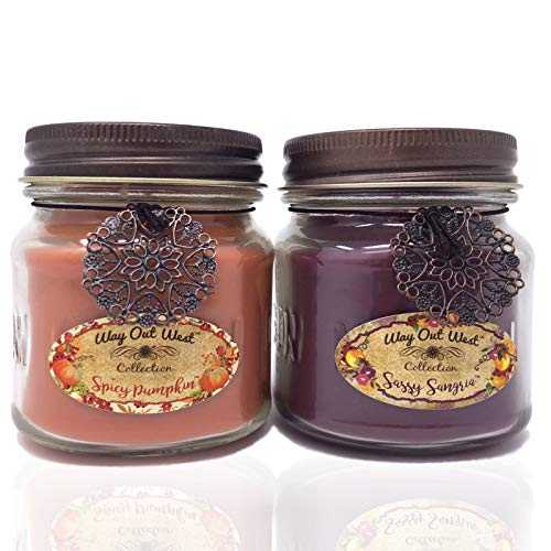- Way Out  West Spicy Pumpkin & Sangria Jar Candle Gift Pack Set 2 Jar Candles- Fragrant, Long Lasting Soy Wax Blend Scented Candles - Delightful Cranberry Orange & Best Pumpkin Like Grandma's Kitchen!