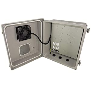 Altelix 14x12x8 Fiberglass Vented Weatherproof NEMA Enclosure with Cooling Fan and 120 VAC Power Outlet