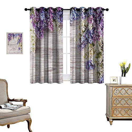 Rustic Room Darkening Wide Curtains Lilac Flowers Bouquet on Wood Table Spring Nature Romance Love Theme Decor Curtains by W63 x L63 Lilac Violet Dark Taupe