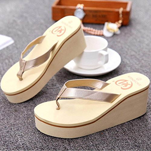 Summer Women Sandals, | Muffin Slope Sandals | Bohemia High Heels Women Ankle Shoes Flat Wedges Shoes Lovely Footwear Flip Flop Sandal | No Rubbing | Foot Toes Comfortable to Wear Gold
