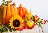 OFILA Autumn Thanksgiving Day Backdrop 7x5ft Autumn Harvest Season Photography Background Pumpkins Sunflowers Apples Red Berries Harvest Day Events Children Autumn Festival Party Photos Props