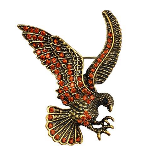 Dovewill Vintage Eagle Brooch Pin Suit Stick Breast Lapel Pin Men Women Party Dress Accessories - Antique Bronze