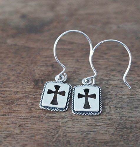 Sterling Silver Earrings with Modern Cut-out Cross Design, Handmade in the USA by Holy Rocks