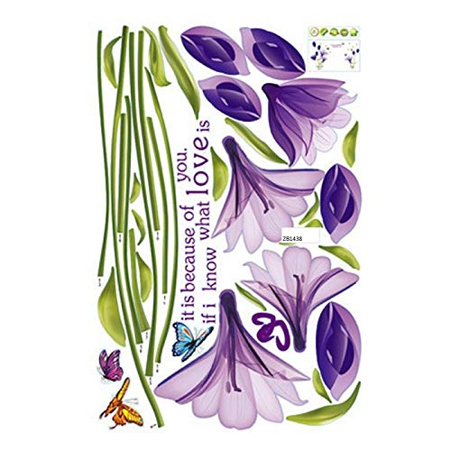 Wall Stickers - Removable Wall Sticker Romantic Rose Purple Lily Ware Fridge Living Room Bedroom Decoration - Japanese Under Theme Roses Gaming Landscape Cats Art Elmo ()