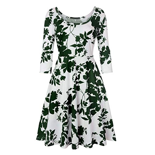 TIFENNY Jumpsuit Dress for Women Three Quarter Sleeve Printing Floral A Line Casual Dress Sexy Party Dresses - Quarter Three Ring Stackable