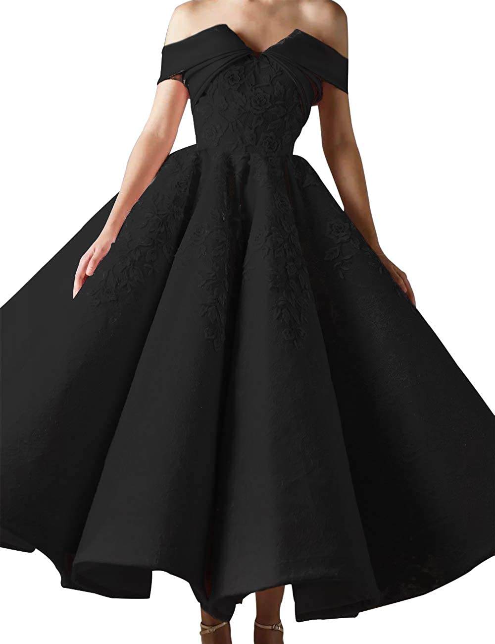 Asoiree Women s Off Shoulder Prom Gowns Lace Appliques Evening Dresses  Sweetheart Sleeveless Big Skirt at Amazon Women s Clothing store  cb39b8fc2
