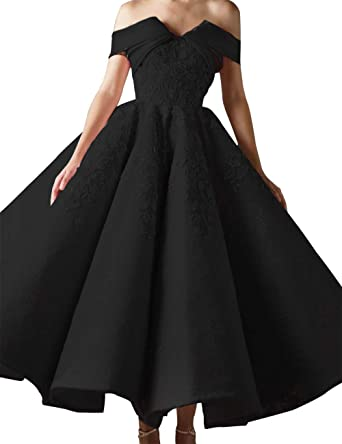 4f8a09bfdd8 Asoiree Women s Off Shoulder Prom Gowns Lace Appliques Evening Dresses  Sweetheart Sleeveless Big Skirt Black