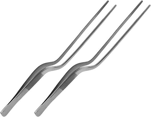 Acier Inoxydable Longueur : 20 cm Pince /à /épiler r/éversible Pince /à ba/ïonnette May Lot de 2 pincettes de Cuisson