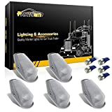 Partsam 5x Cab Roof Running Marker Lights Clear+ 5xIce Blue 5050 T10 194 LED Bulbs for 1973-1997 Ford F-150 F-250 F-350 Super Duty