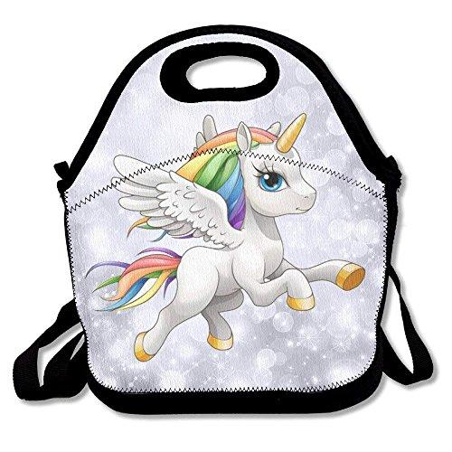 GoldBaoWang - Fiambrera de neopreno con diseño de unicornio arcoíris, con aislamiento, impermeable, con correa de cierre,...