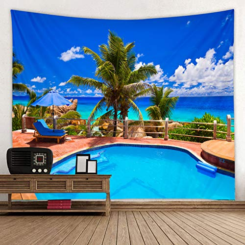 Seaside Resort Swimming Pool Fabric Tapestry Decor Wall Art Tablecloths Bedspread Picnic Blanket Beach Throw Tapestries Colorful Bedroom Hall Dorm Living Room Hanging 79 x59 inches