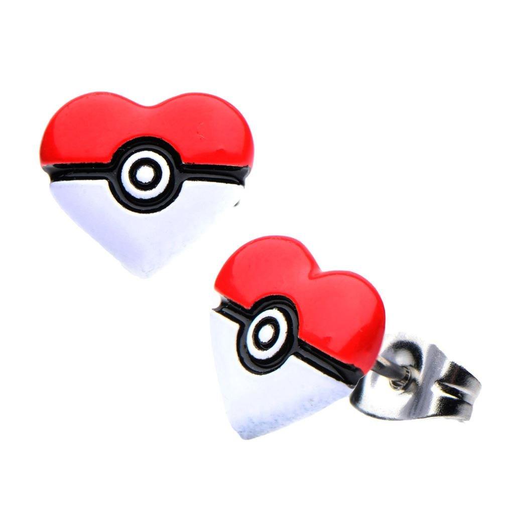 Official Pokemon Poke Ball Heart Shape Stainless Steel Stud Earrings PMPOKIBHRTER01