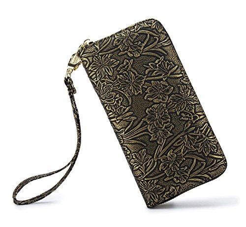 Bronze Wallet - LOVESHE Women wallet ReliefFlower Bronze color Bohemian wristlet Clutch wallets