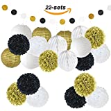 Micirc 22 Pcs Black White Gold Party Decorations with Tissue Pom Poms Paper Garlands Paper Lanterns Honeycomb Balls for Baby Shower Bridal Shower Wedding Nursery Birthday Party Supplies